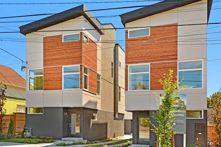 Modern Homes-Isola Homes community Enso in Seattle's Ballard neighborhood.  #architecture #modern #contemporary #design #ballard #seattle #homes #townhomes #urban #exterior #siding #newconstruction #isolahomes