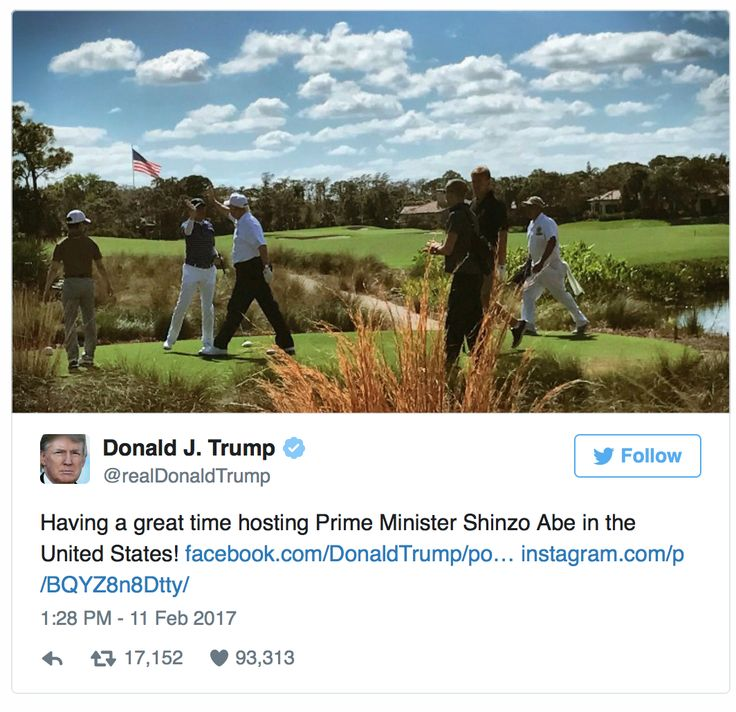 """""""19 Photographs That Defined Trump's First 100 Days"""" by TIME staff.  As you can see the president of the United States playing the sport for deals with the Prime Minister! Photo Credit: Donald J Trump"""