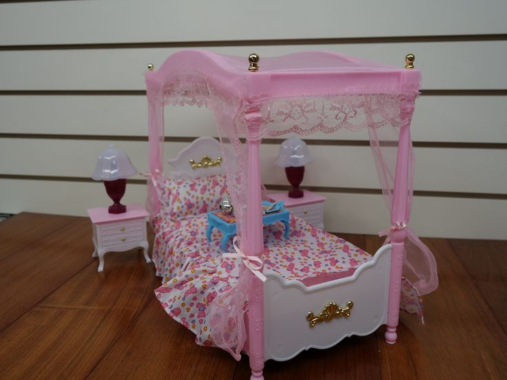 Simple Barbie Size Dollhouse Furniture Master Bed Room Set
