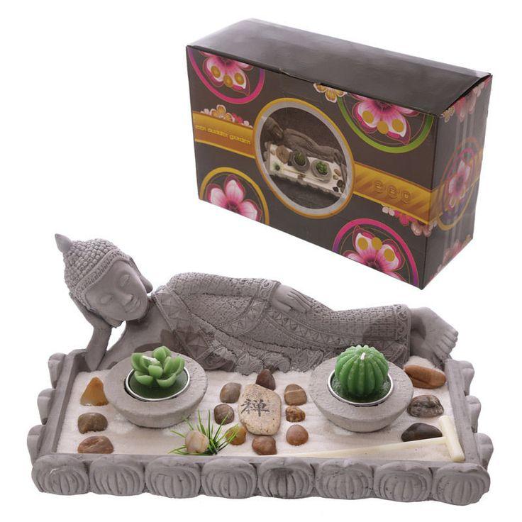 Lying Buddha Figurine Zen Garden Tea Light Holder Set Ornament Home Decorative