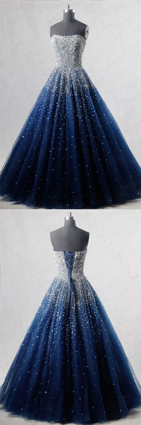 Blue sweetheart sequin tulle long prom dress, blue evening dress, blue formal dress #eveningdresses - Sale! Up to 75% OFF! Shop at Stylizio for women's and men's designer handbags, luxury sunglasses, watches, jewelry, purses, wallets, clothes, underwear & more!