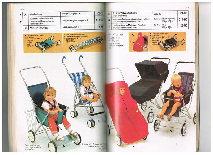 Vintage Mothercare strollers and pushchairs from the 1974 catalogue