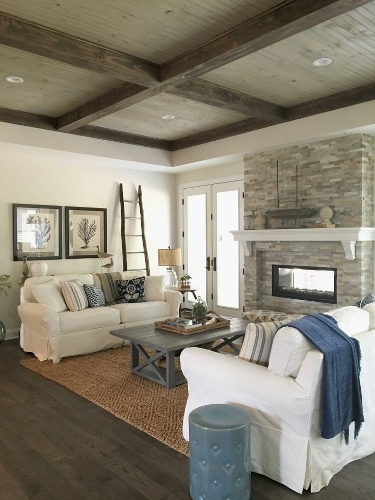 Soft Neutrals Play Well Together In This Cozy Space Rustic Touches Like The Whitewashed Pine