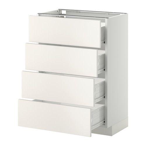 METOD / FÖRVARA Bänksk m 4 fronter/4 lådor - Veddinge vit, vit, 60x37 cm - IKEA