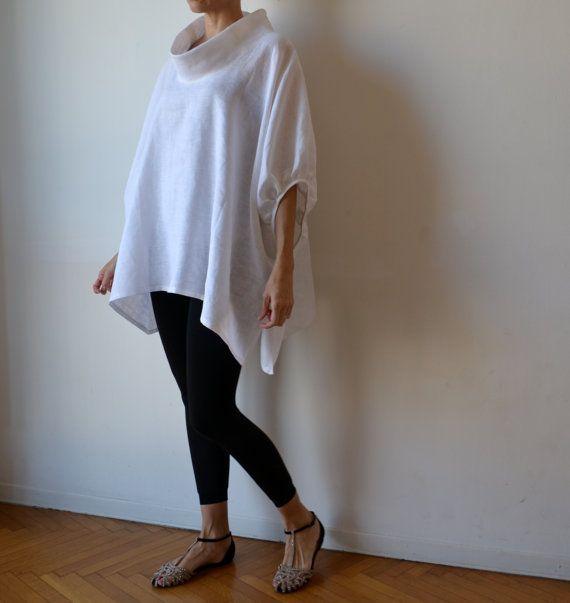 Tunique haut de blouse de lin blanc plus de taille par MuguetMilan