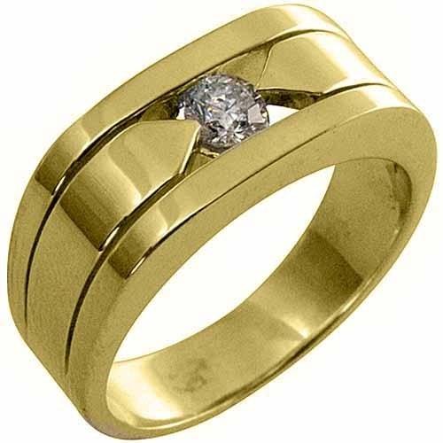 mens 40 carat solitaire round diamond ring wedding band tension set yellow gold - Ebay Wedding Rings