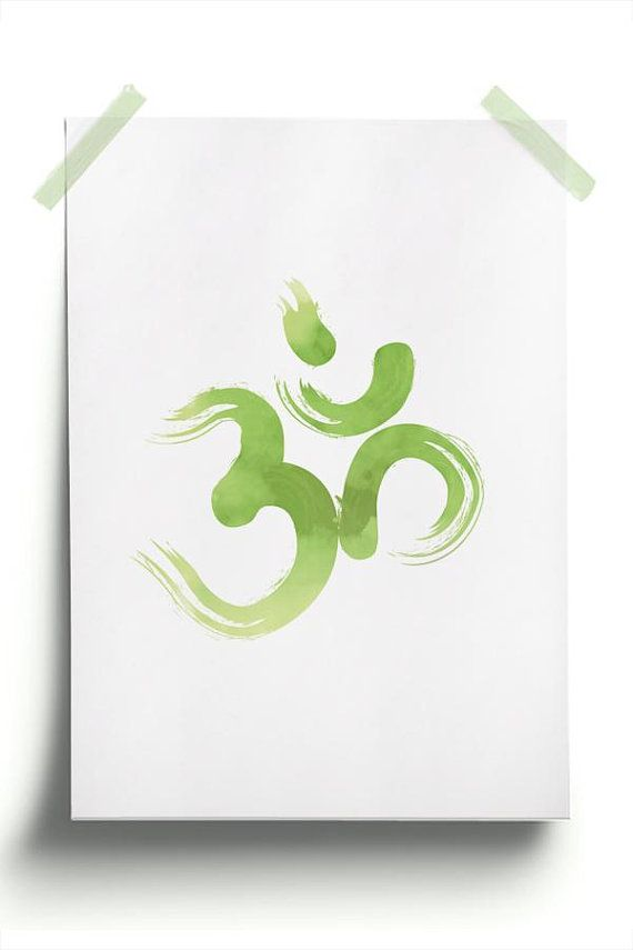 Yoga Om Symbol Relaxation Wall Art Sign Om Wall Art Greenery Printable Zen Symbol Watercolor Strokes Yoga Studio Decor Ohm Poster
