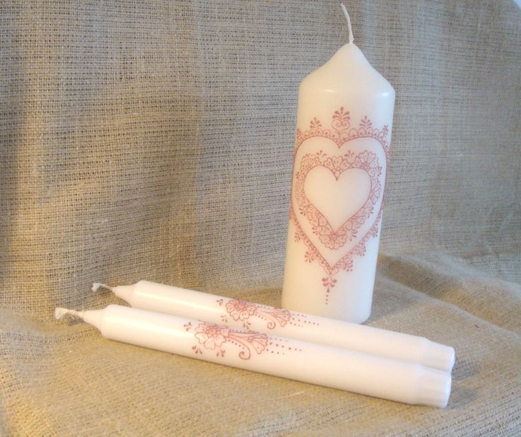 Heart Unity Candle Set by TheHennaGrove on Etsy #unity candles, #henna candles, #mehndi candles, #heart candles