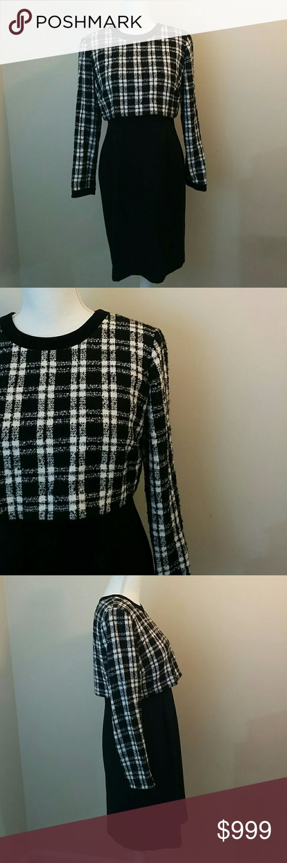 "Vintage Donna Morgan Check Layered Dress Vintage Donna Morgan dress. Long sleeves. Black and White check plaid ""top"" over black sheath/pencil dress. Will be the perfect dress to wear in Fall and Winter! Modest, but form flattering. Donna Morgan Dresses Midi"