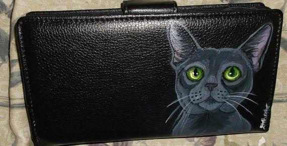 Korat Cat Custom Painted Women's Leather by daniellesoriginals, $32.95