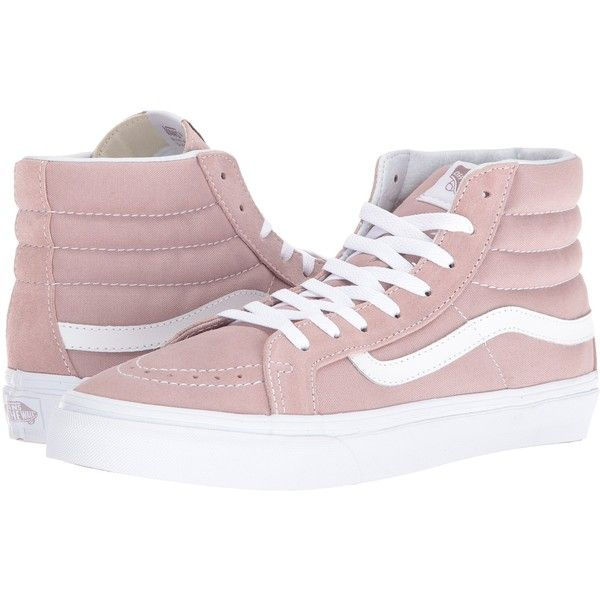 Vans SK8-Hi Slim ((Suede/Canvas) Fawn/True White) Skate Shoes ($53) ❤ liked on Polyvore featuring shoes, sneakers, pink, white canvas high tops, vans sneakers, white high top shoes, suede sneakers and canvas sneakers