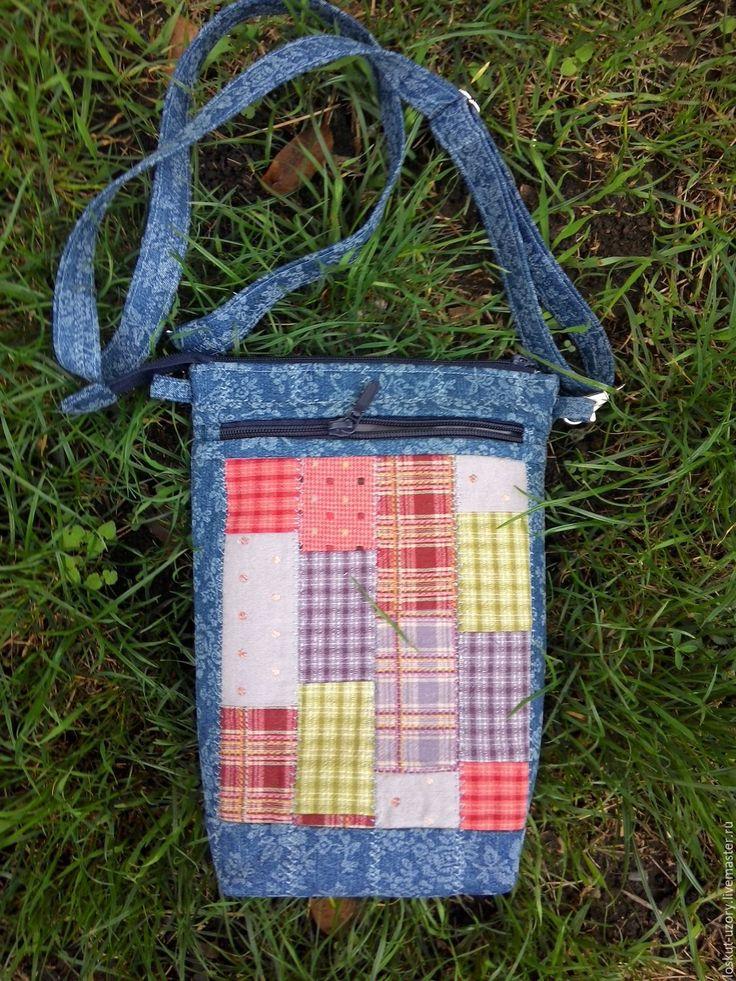 Купить Джинсовая сумка, лоскутная , пэчворк ПОХОДНАЯ - синий, джинс, джинсовая сумка, лоскутная сумка