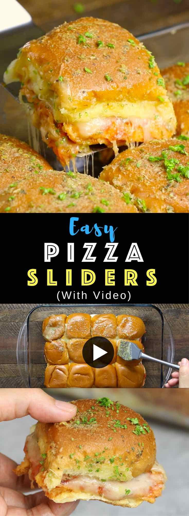 Easy Pepperoni Pizza Sliders – A Make-ahead recipe that's a guaranteed hit with the crispy topping on the bread and cheesy filings inside. All you need is some simple ingredients: Hawaiian rolls, cheese, pepperoni, pasta sauce, butter, herbs and Parmesan. So good! Quick and easy recipe. Make ahead recipe. Great for parties. Video recipe. | Tipbuzz.com