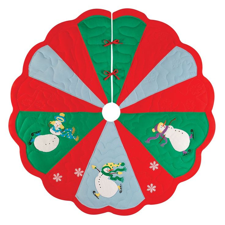 Slip Sliding Snowmen 54 -inch Quilted Tree Skirt