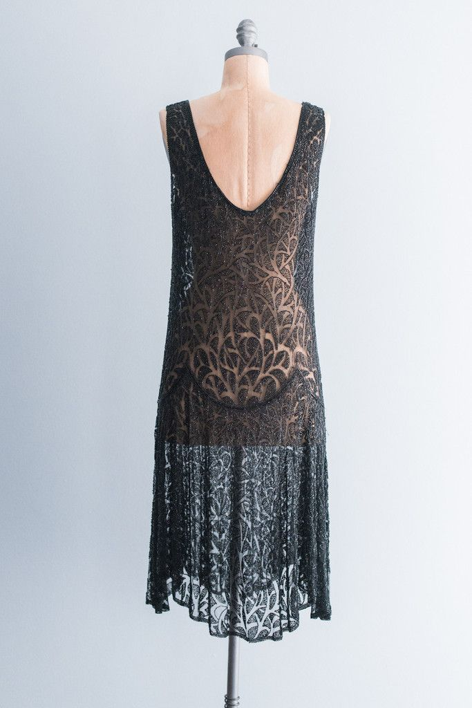1920's Jet Black Steel Cut Beaded Flapper Dress - S/M | G O S S A M E R
