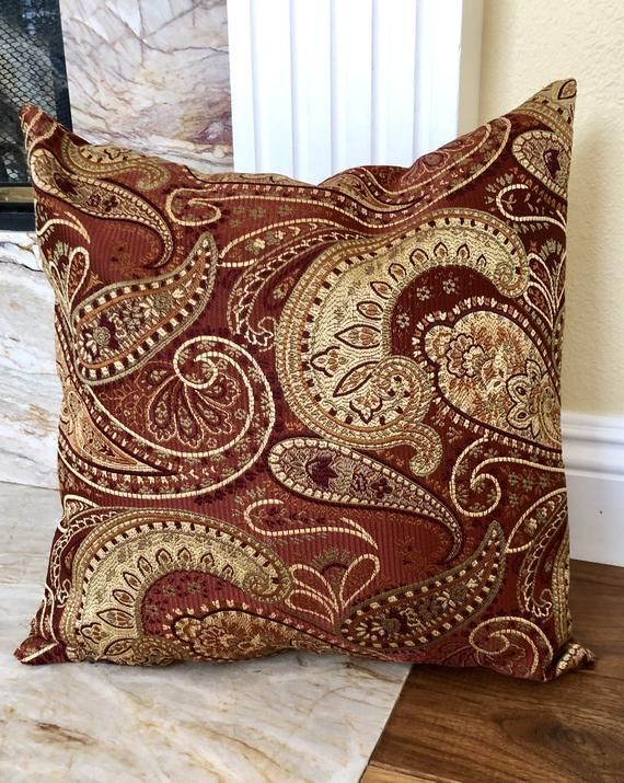 Paisley Decor Throw Pillow Made With Burgundy And Gold Shades Elegant High Quality Fabric Pillow Paisley Throw Pillows Burgundy Throw Pillows Paisley Pillows