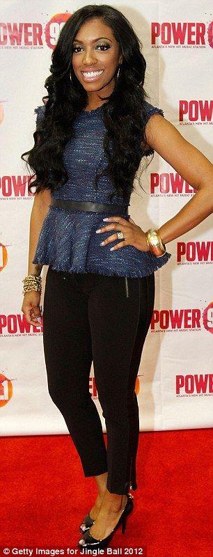 Porsha Stewart, of Real Housewives of Atlanta, looking amazing in Rebecca Taylor at Jingle Ball
