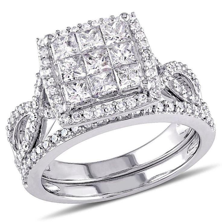 Delmar Jewelers 1.49ctw Princess and Round White Diamond 10K White Gold Wedding Ring Set