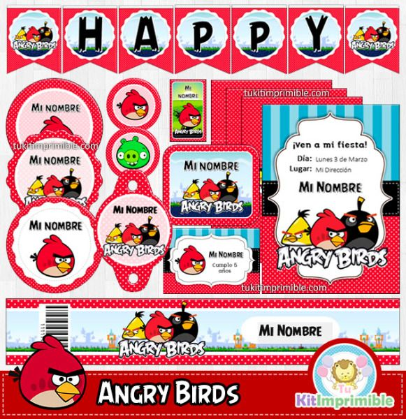 Kit imprimible completo para tu fiesta temática Angry Birds, edita ...