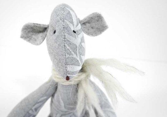 Special gift for Brithday or Baby shower / cotton grey Teddy Bear / stuffed Bear / vintage Teddy Bears / Artist Bears / Nursery decor / Gift