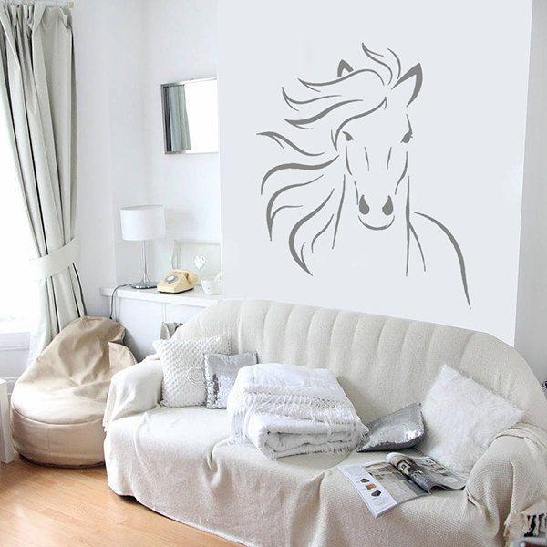 kik669 Wall Decal Sticker horse head animal living room bedroom