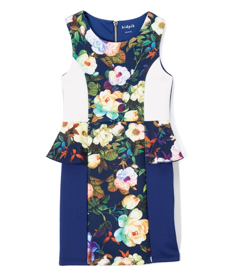 Navy Floral Peplum Skirt - Toddler & Girls