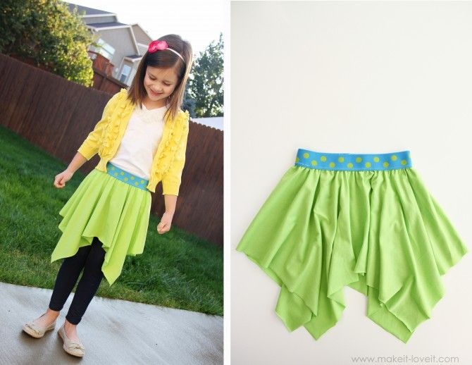 The Square Circle Skirt (20-ish minutes to make) from makeit-loveit.com. I love this style skirt! I think I would do a double layer with the points off set. So precious!