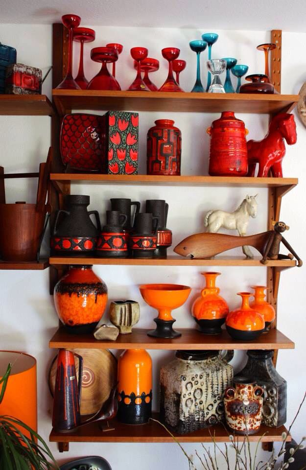 Beautiful west German pottery collection/orange, black and red vases/fat lava vase collection 70s home decor