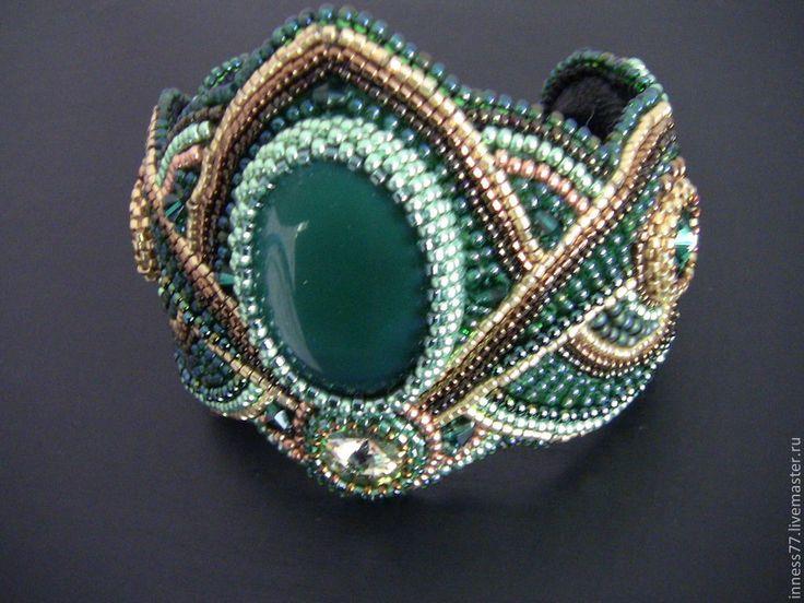 """Браслет из бисера с агатом """"Izolda"""" - тёмно-зелёный,зеленый цвет,зеленый камень"""