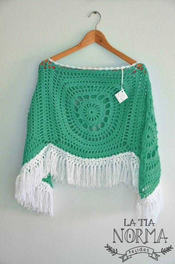 Poncho artesanal tejido en hilo - Crochet - Tejidos de Punto - 805538