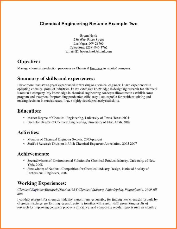 unique chemical engineer resume exle pattern exle