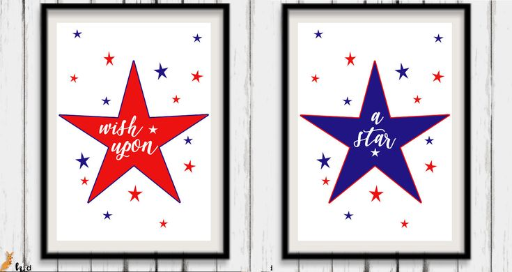 Wish Upon a Star, Star Print Downloadable, Red White Blue Nursery Art, Downloadable Stars Print, Star Nursery Print Sets, Instant Download