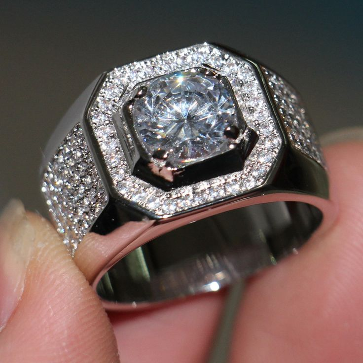 Men 3ct Topaz Created Diamond Gold Filled Ring in 2020 ...