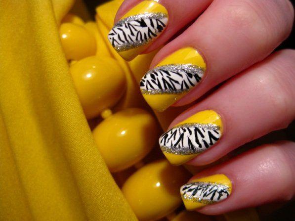 Yellow Zebra Nail Art  Credits: CutePolish