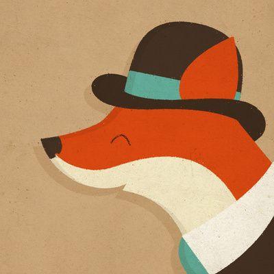 "City Fox by Zara Picken STRETCHED CANVAS / SMALL (13"" X 13"")"