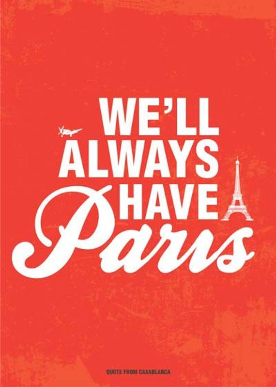 Casablanca Movie Quote Poster in Red We'll Always have ...