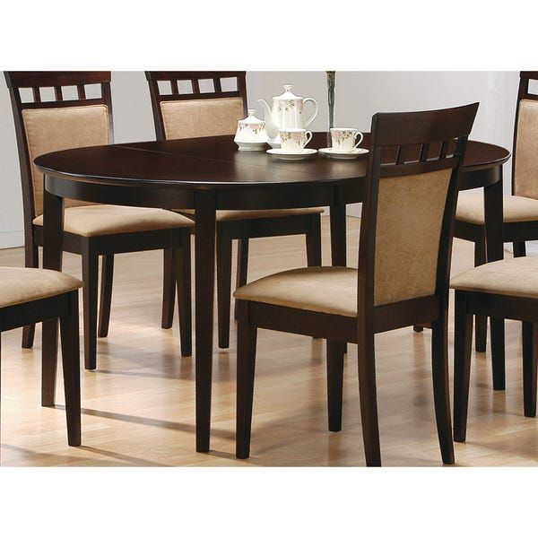 Coaster Company Cappuccino Cappuccino Oval Dining Table With Leaf