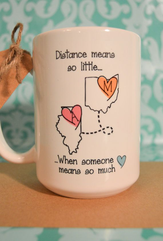STATE to STATE Long Distance Mug 2 States 2 by BabyCakeLane