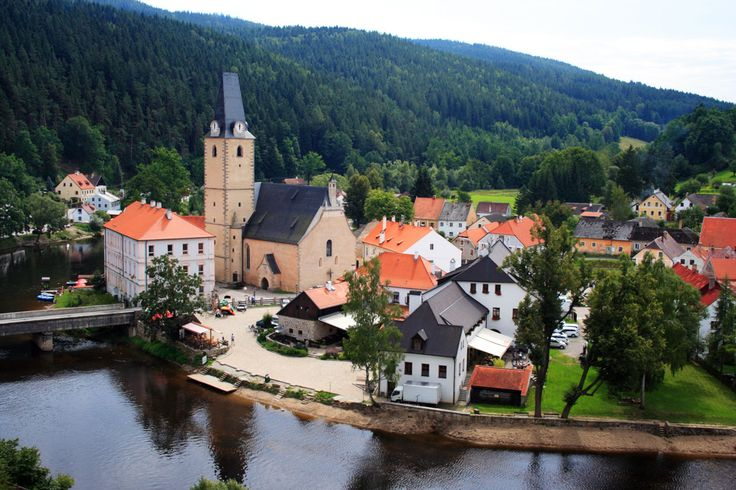 Rozmberk church an town. View from the castle. Czech, Europe.  http://publicdomainpictures.net  FREE PUBLIC DOMAIN PHOTO'S TO USE AS YOU LIKE.
