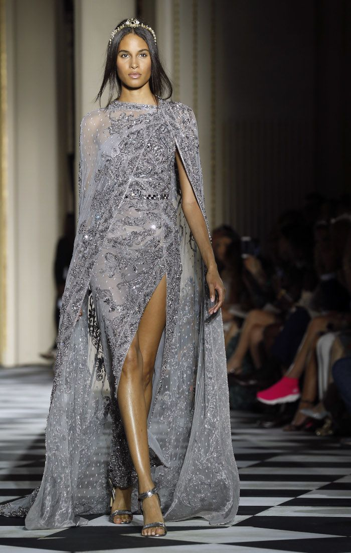 Zuhair Murad Fall 2018 Couture At Haute Couture Paris Fashion Week Gray Dress Couture Trends Fashion Fashion Dresses