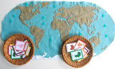 DIY felt world map with continents, animals and landmarks  --- Tutorial: Mapamundi de fieltro con continentes, anmales y monumentos