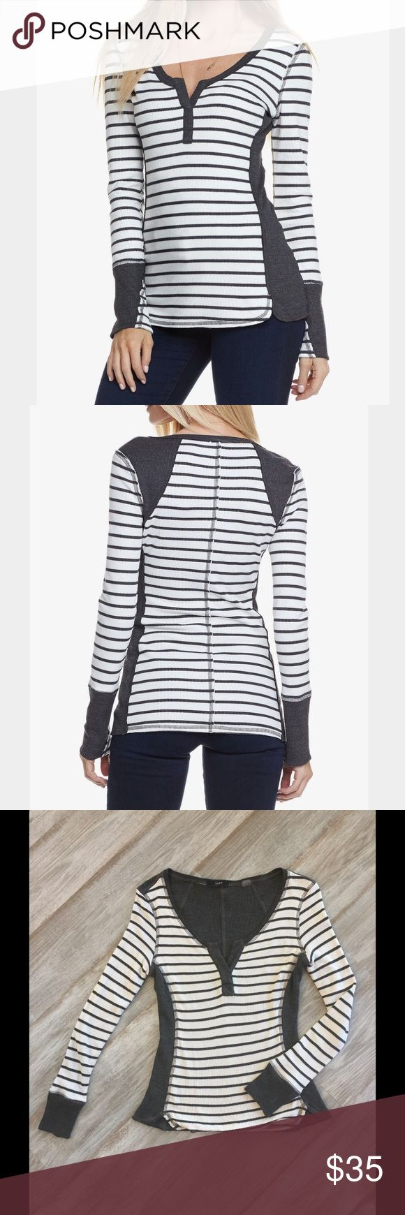 NWOT. Tart Long Sleeve Tee NWOT! Tart Collections striped stretch modal-jersey T-shirt. Charcoal and white Tart Tops Tees - Long Sleeve