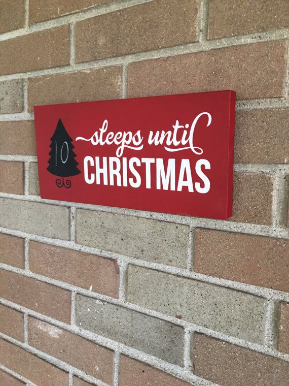 "Christmas Countdown Sign - Sleeps Until Christmas - Wood Sign Christmas Decor Christmas Tree Decorate For Christmas DAWNSPAINTING  12"" x 6"""