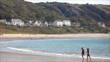 Port Eynon beach on the Gower. It was here that I found out my niece had finally arrived into the world!