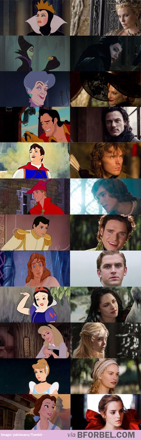 Disney Animation vs. Live Action interpretations<< I love all these except snow white :(