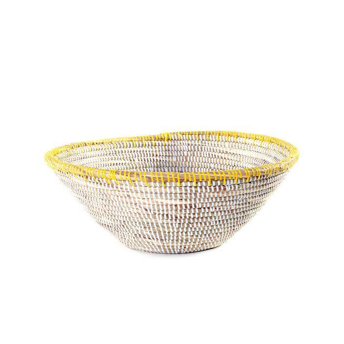 Woven Table Basket - Yellow Rim