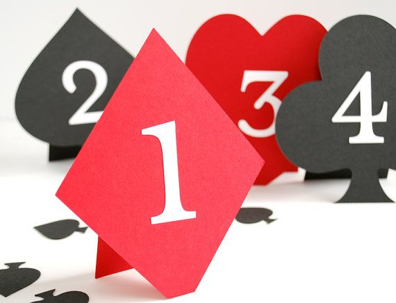If you're using numbers rather than names for your wedding tables, these playing card themed table numbers would be perfect! http://www.toptableplanner.com/blog/las-vegas-themed-wedding-table-plans