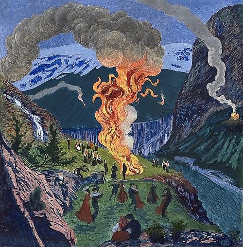 """Midsummer Night Bonfire"" by Nikolai Astrup  a Norwegian painter (1880-1928)  color woodcut)"