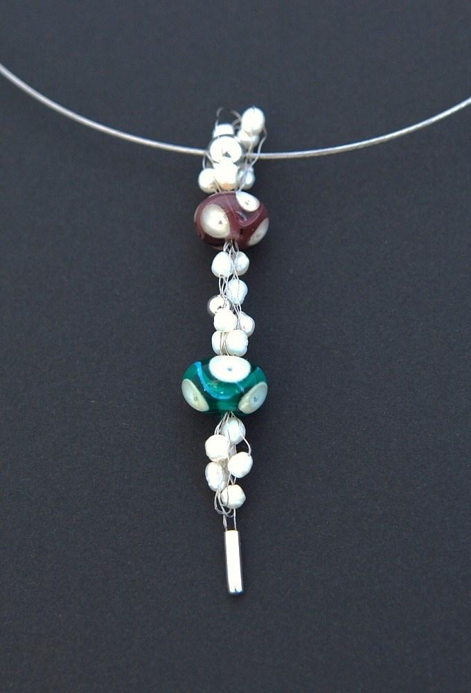 náhrdelník - ruční skleněné korále, stříbro, ocel