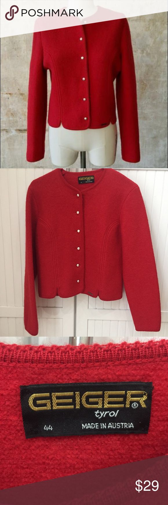 Geiger 100% wool jacket Made in Austria / EU Size 44 translates to a size 10 US / never worn! No signs of wear / feel free to ask questions or make an offer!  Geiger Jackets & Coats